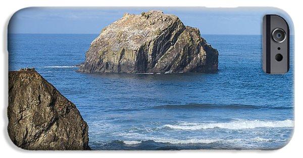 Beach Landscape Tapestries - Textiles iPhone Cases - Face Rock Landscape iPhone Case by Dennis Bucklin