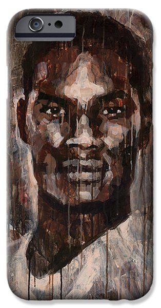 Young Paintings iPhone Cases - Face to Face iPhone Case by Douglas Simonson