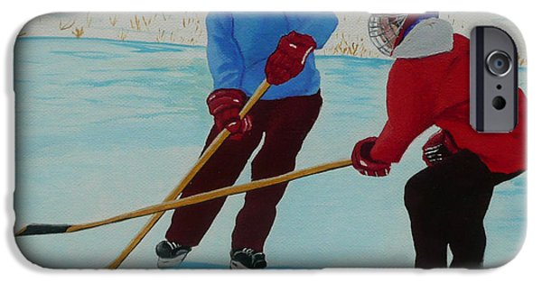 Snow Hockey Paintings iPhone Cases - Faceoff iPhone Case by Anthony Dunphy
