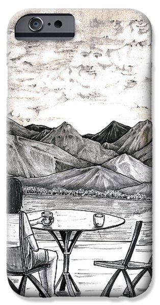 Contemplative Drawings iPhone Cases - Faces in Landscape iPhone Case by Lee Serenethos