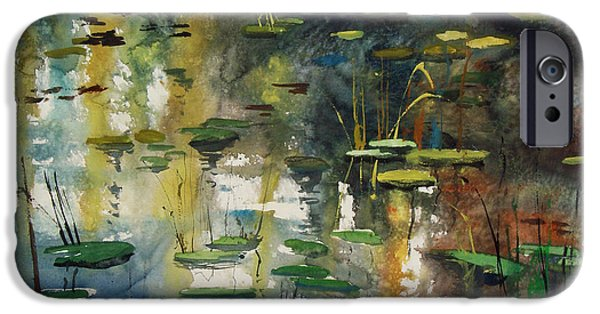 Nature Abstract iPhone Cases - Faces in the Pond iPhone Case by Ryan Radke