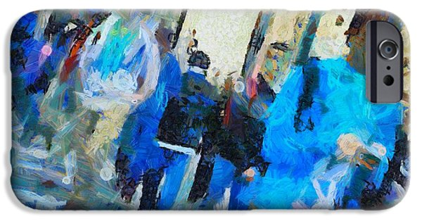 Abstract Movement Mixed Media iPhone Cases - Faces In The Street iPhone Case by Dan Sproul