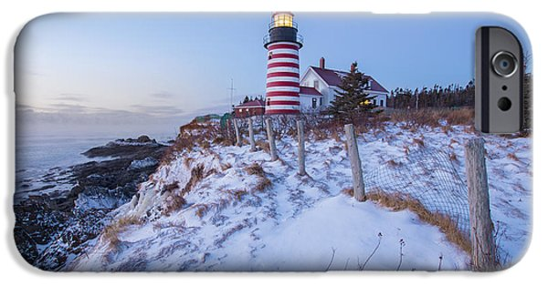 East Quoddy Lighthouse iPhone Cases - Facing East  iPhone Case by Evelina Kremsdorf