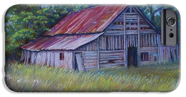 Barn Landscape Pastels iPhone Cases - Faded Beauty iPhone Case by Tanja Ware