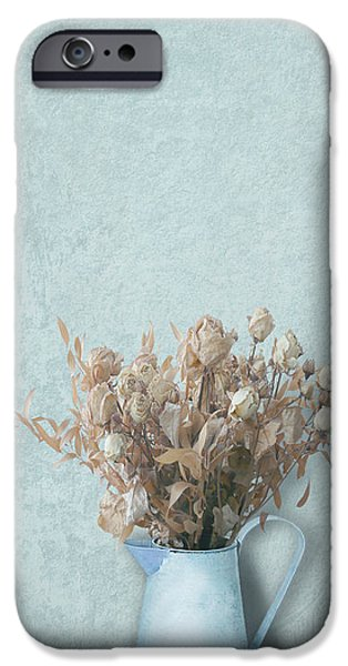 Interior Still Life iPhone Cases - Faded Bouquet in Blue iPhone Case by Artskratches