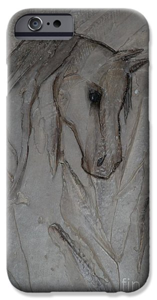 Horse Reliefs iPhone Cases - Faded Past iPhone Case by L J Levasseur