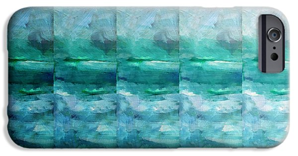 Abstract Seascape Mixed Media iPhone Cases - Fading 1 iPhone Case by Angelina Vick