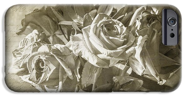 French Open iPhone Cases - Fading Roses iPhone Case by Terry Rowe