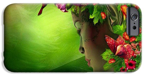 Fushia iPhone Cases - Fae In The Flower Hat iPhone Case by Carol Cavalaris