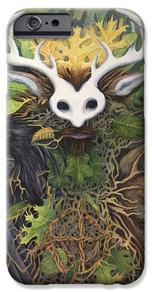 Medicine Paintings iPhone Cases - Faerie King iPhone Case by Antony Galbraith