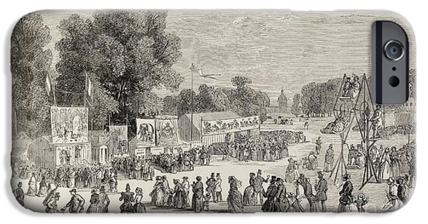 Elephants iPhone Cases - Fairground In A Paris Park, June 1848 iPhone Case by British Library