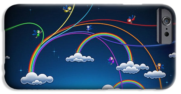 Animation iPhone Cases - Fairies Made Rainbow iPhone Case by Gianfranco Weiss