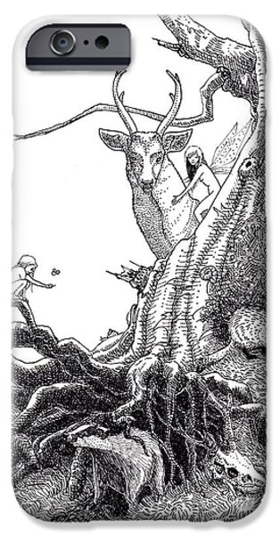 Monotone Drawings iPhone Cases - Fairies of the Forest iPhone Case by Margaret Schons