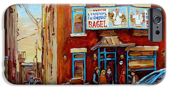 Streets Of Montreal iPhone Cases - Fairmount Bagel In Winter Montreal City Scene iPhone Case by Carole Spandau