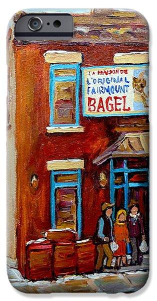 FAIRMOUNT BAGEL IN WINTER MONTREAL CITY SCENE iPhone Case by CAROLE SPANDAU