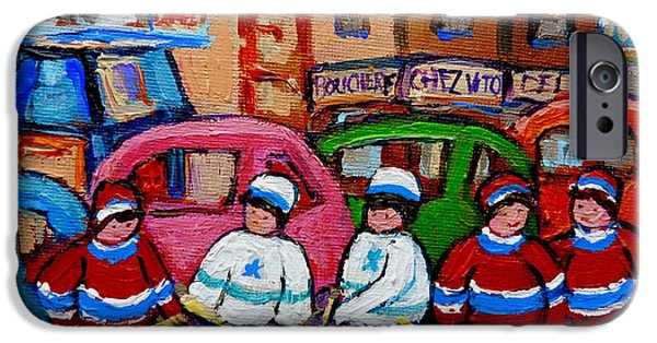 Stanley Cup Paintings iPhone Cases - Fairmount Bagel Street Hockey Game iPhone Case by Carole Spandau