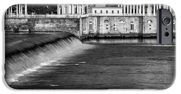 America iPhone Cases - Fairmount Water Works Park BW iPhone Case by Susan Candelario