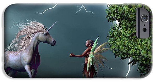 Lightning Images iPhone Cases - Fairy and Unicorn iPhone Case by Corey Ford