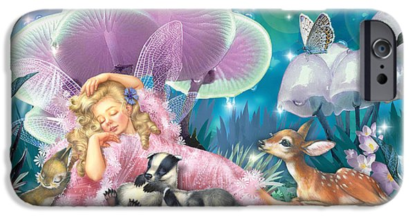 Forest iPhone Cases - Fairy Asleep And Baby Badgers iPhone Case by Zorina Baldescu