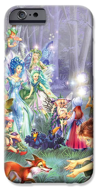 Fairies iPhone Cases - Fairy Princess Gathering iPhone Case by Zorina Baldescu