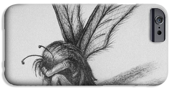 Crying Drawings iPhone Cases - Fairy iPhone Case by Sara Coolidge