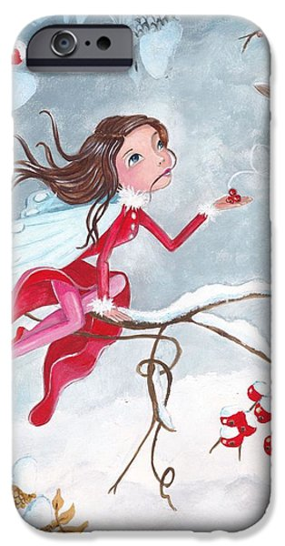 Fairy with Berries iPhone Case by Caroline Bonne-Muller