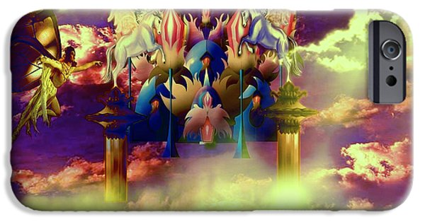 Unicorn Art Greeting Card iPhone Cases - Fairyland iPhone Case by Artist Nandika  Dutt