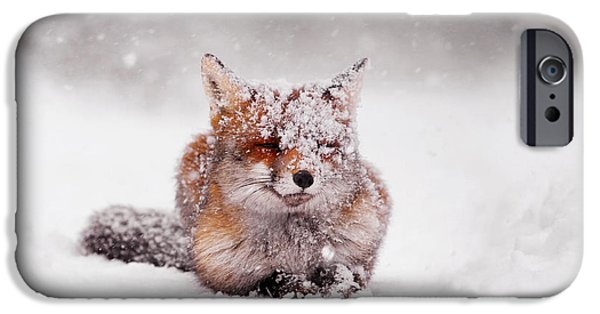 Winter Storm iPhone Cases - Fairytale Fox II iPhone Case by Roeselien Raimond