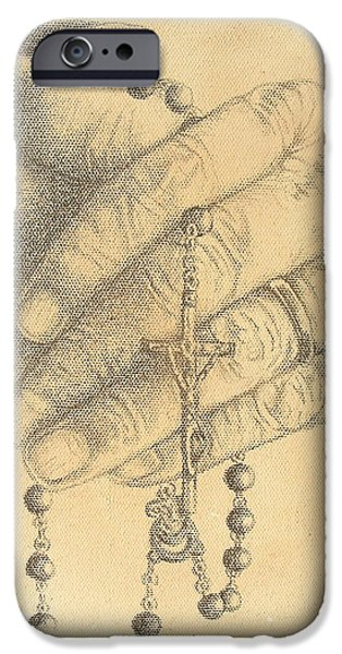 Jesus Drawings iPhone Cases - Faith Never Grows Old iPhone Case by Conor OBrien