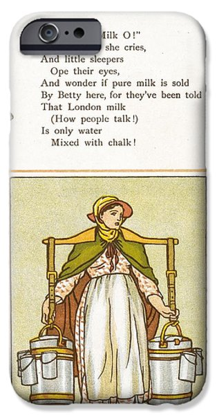 Deceit iPhone Cases - Fake Milk, 1880s Poem iPhone Case by British Library