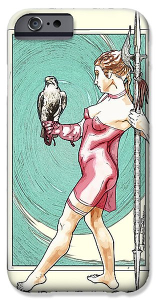 Statue Portrait Drawings iPhone Cases - Falcon Queen iPhone Case by Jerrett Dornbusch