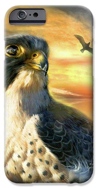 Bird Of Prey Art iPhone Cases - Falcon Sun iPhone Case by Carol Cavalaris