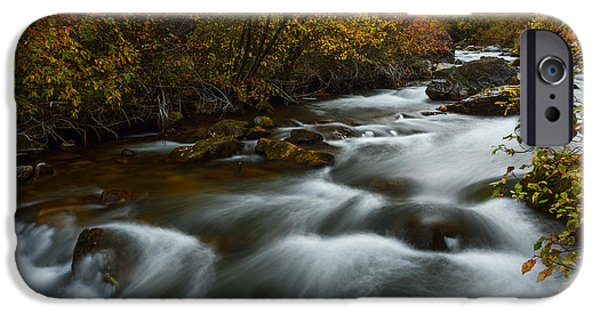Overcast Day iPhone Cases - Fall along Palisades creek Idaho iPhone Case by Vishwanath Bhat