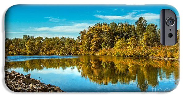 Silk Water iPhone Cases - Fall Along the Payette River iPhone Case by Robert Bales