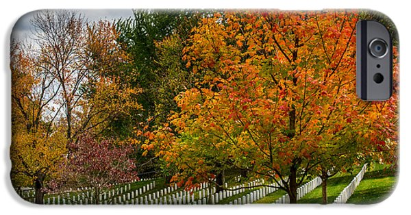 Final Resting Place Photographs iPhone Cases - Fall Arlington National Cemetery  iPhone Case by Gary Whitton