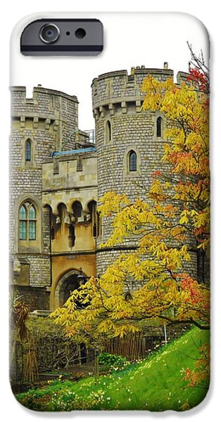 Royal Family Arts iPhone Cases - Fall Arrives at Windsor Castle iPhone Case by David Lobos