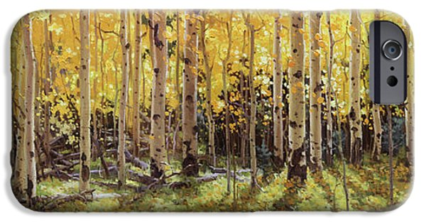 Recently Sold -  - Tree Art Print iPhone Cases - Fall Aspen Panorama iPhone Case by Gary Kim