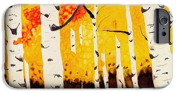 Nature Abstract Tapestries - Textiles iPhone Cases - Fall Aspens iPhone Case by Linda Duncan