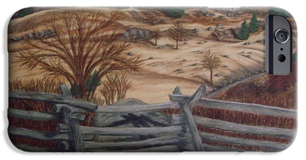 War Pastels iPhone Cases - Fall at Little Round Top Gettysburg iPhone Case by Joann Renner