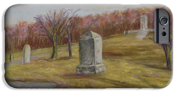War Pastels iPhone Cases - Fall At The Peace Light Memorial Gettysburg iPhone Case by Joann Renner