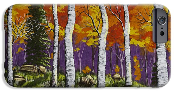 Beautiful Scenery Paintings iPhone Cases - Fall Birch Trees Painting iPhone Case by Keith Webber Jr