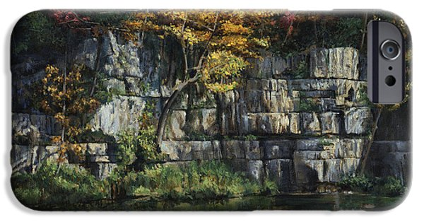 Ledge iPhone Cases - Fall Bluffs - Ozark Natl Scenic Rivers iPhone Case by Don  Langeneckert