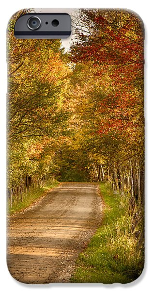 Concord Digital Art iPhone Cases - Fall color along a Peacham Vermont backroad iPhone Case by Jeff Folger