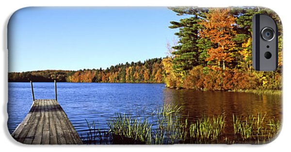 Massachusetts Autumn Scenes iPhone Cases - Fall Colors Along A New England Lake iPhone Case by Panoramic Images