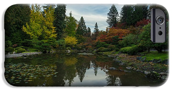 Japanese Garden iPhone Cases - Fall Colors Japanese Garden Serenity iPhone Case by Mike Reid