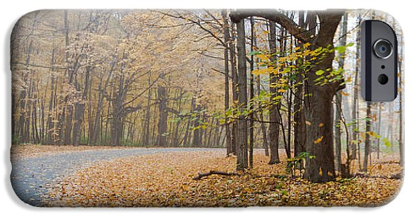 Asphalt iPhone Cases - Fall Colors Panorama - Moraine View State Park iPhone Case by Jim Finch