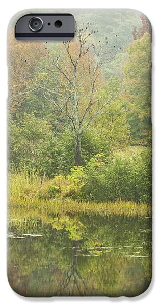 Flocks Of Birds iPhone Cases - Fall Colors on Small Pond In Vienna Maine iPhone Case by Keith Webber Jr