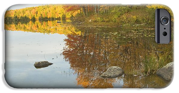 Autumn In New England iPhone Cases - Fall colors on Taylor Pond Mount Vernon Maine iPhone Case by Keith Webber Jr