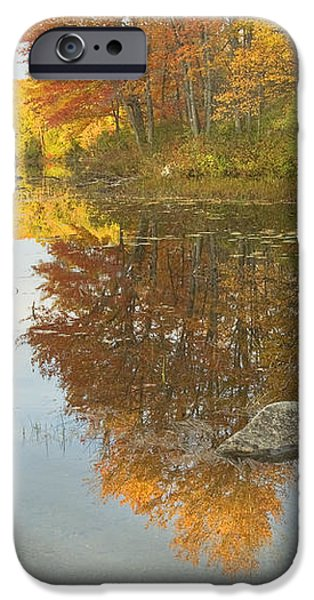 Fall colors on Taylor Pond Mount Vernon Maine iPhone Case by Keith Webber Jr