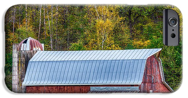 Old Barn Poster Photographs iPhone Cases - Fall Colors On The Farm iPhone Case by Paul Freidlund
